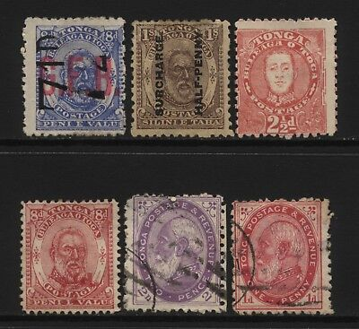 Tonga Collection 6 Early Stamps (Inc Surch) Used / Unused Mounted