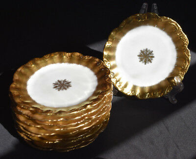 "Coiffe Limoges Set of 10 Bread & Butter Plates  6"" Gold Gilded Center Star LS&S"