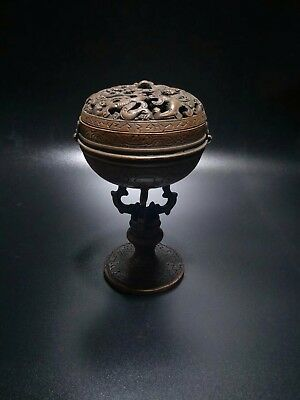 Chinese Antique Red copper dragon top hollow incense burner
