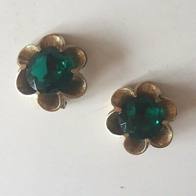 Vintage Retro 1950s 50s 1960s 60s gold coloured diamante flower clip-on earrings