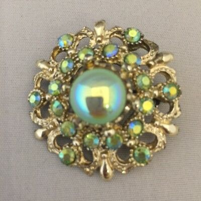 Vintage Retro 1950s 1960s 50s 60s small green gem iridescent diamante brooch pin
