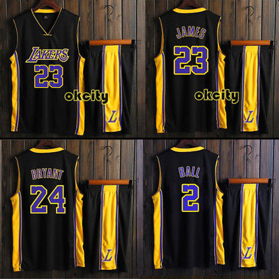 Black 23 LeBron James 24 Kobe Bryant Los Angeles Lakers LA Adult Kid Men Jersey
