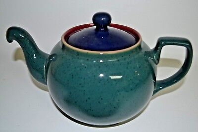 DENBY HARLEQUIN SPECKLED TEA POT large size~GREEN Out RED IN~BLUE LID  EXC CON ~