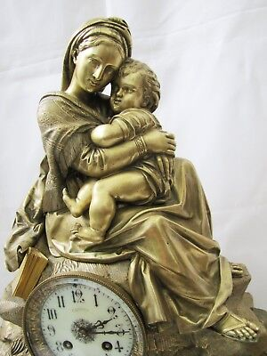 Antique French AD Mougin Bronze Mother & Child Statue Clock.