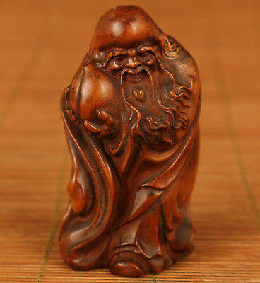 Rare Chinese Old Boxwood Hand Carved god of longevity Buddha Statue figure
