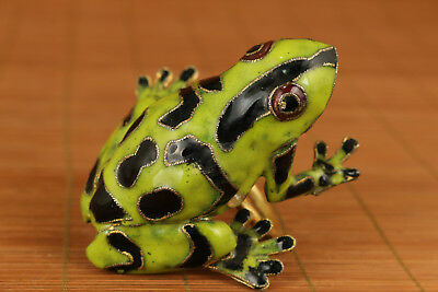 Lovely Chinese Old Cloisonne Handmade Carved frog Figuare Statue Ring