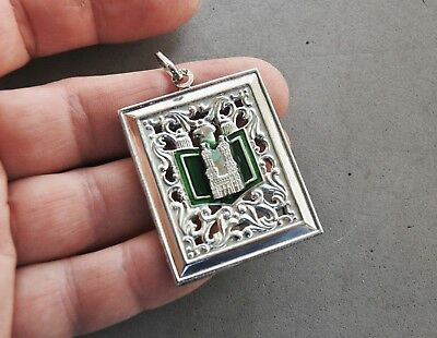 """Great Mosque Mecca Islam Kaabah Pendant Sterling Silver 11 gr 2 1/8"""" Reversible"""