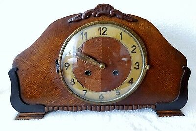 English Mantel Clock Oak Wood 8 Day Signed Movement Bim Bams On 3 Rods