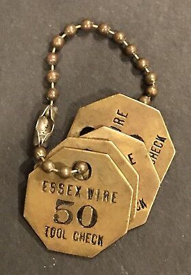 4 Vintage Essex Wire Company Tool Check # 50 Brass Tag Lot