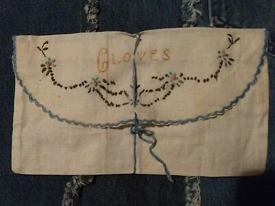 Antique Vintage Hand Embroidered LINEN Glove Keeper Pouch Envelope free shipping