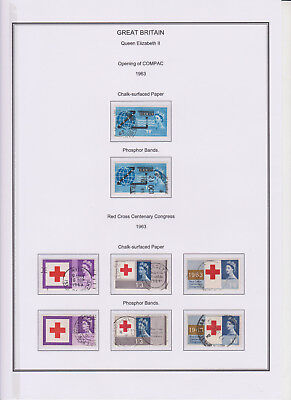 GB Used Stamp Collection 1963 Complete QEII Commemorative Year Set Phosphor &ord