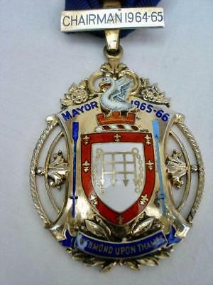 Fine Sterling Silver & Enamel Collar Jewel Richmond Upon Thames Mayor 1965-66.