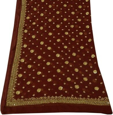 Vintage Dupatta Indian Long Stole Hand Beaded Embroidered Wrap Stola Viel Maroon