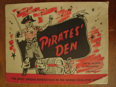 Old Original Vintage Souvenir Photo Card Pirates Den Restaurant Bar Hollywood Ca