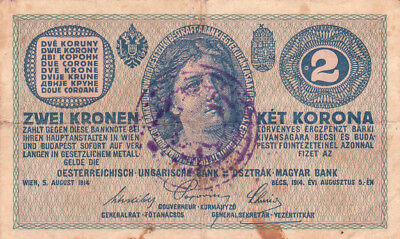 2 Korona/kronen Fine Note1919 With A Local Stamp From Shs Kingdom!!!