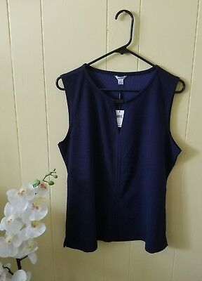 Calvin klein women's V-neck tank top blouse, Blue,  Size large NEW WITH TAGS 🌸