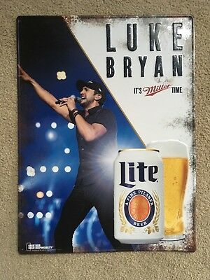 "Luke Bryan 2014 Miller Lite"" It's Miller Time"" Metal Sign 24""x 18.5"" 🇺🇸 Rare"