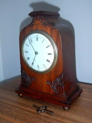 Antique 19Th C. Pretty Mahogany Cased French 8 Day Mantel Clock~Enamel Dial+Key