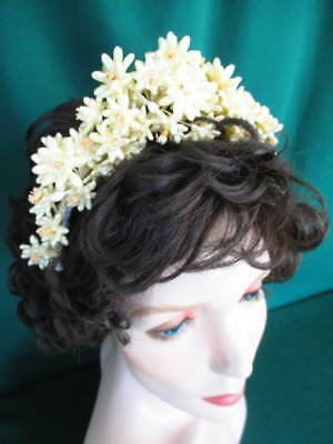 Vintage 1930s-40s Pearlized Flower Cluster Tiara Style Bridal Wedding Headpiece