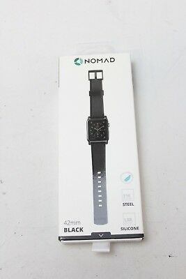 NOMAD 24mm Black Silicone & Stainless Watch Strap for Apple Watches