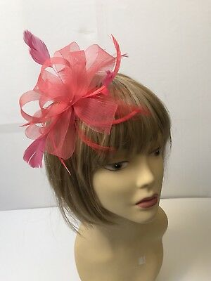 Coral Coiled Looped Hair Fascinator Weddings Proms Lady's Day Races, Hen Nights