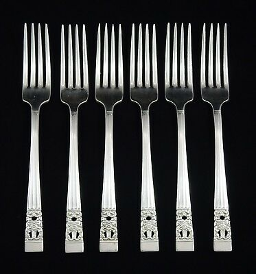 6 Vintage Art Deco Oneida Community Hampton Court Dinner Forks Silver Plated