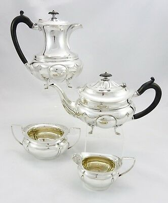 Beautiful Vintage Ornate Fluted Silver Plated Mirror Finish 4 Piece Teaset