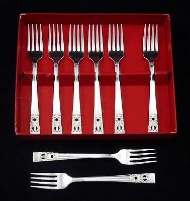 8 Vintage Art Deco Oneida Community Hampton Court Tea Salad Forks Silver Plated