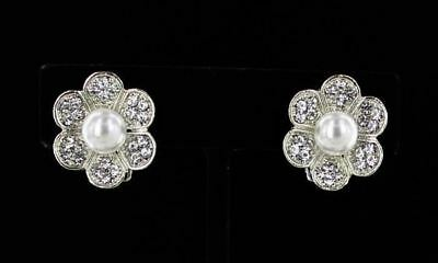 Floral Design CLIP ON Earrings Faux White Pearl w Crystal Accents Silver Plated