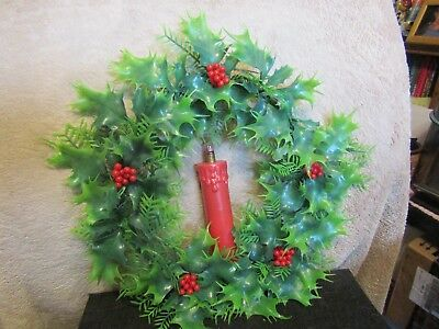 "Vintage 12"" wide unbranded plastic Christmas door wreath w/light up candle."
