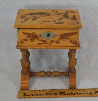 antique sewing box stand  trinket wood carved treen mirror antique rare 1800