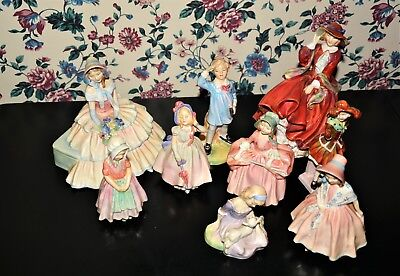 9 Royal Doulton Figures Day Dreams, Top O' The Hill, Lily, Pearly Girl, Bo Peep