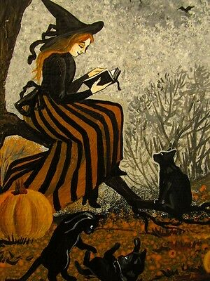 1.5x2 DOLLHOUSE MINIATURE PRINT OF PAINTING RYTA 1:12 SCALE HALLOWEEN WITCH CAT