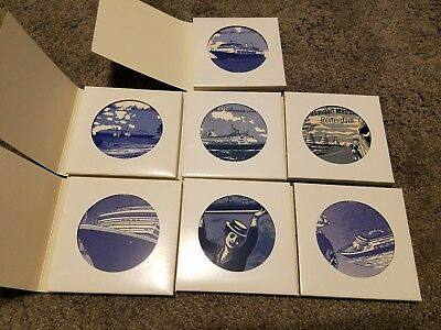 LOT OF 7 NEW Holland America Lines Blue ROYAL DELFTWARE Tile Coasters 4 Inch