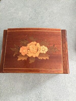 Vintage Small Inlaid Wood Marquetry Jewellery Box