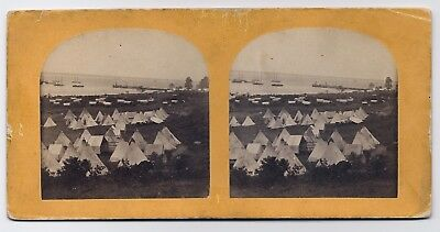 A.J. RUSSELL(attr): Construction Corps Camp VIRGINIA *1860s CIVIL WAR Stereoview