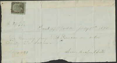 R104 tied by embossed cancel to  1875 Boulder Bank [Co. Ty] document