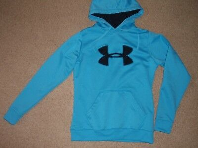 Womens Medium Under Armour Blue Black Storm Coldgear Big Logo Hoodie Sweatshirt