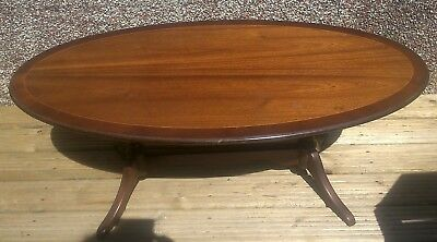 Wooden Coffee Table Oval Claw Style Feet Heavy Vintage Retro Upcycle Restoration