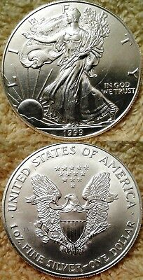 One .999 Fine Silver 1999 American Silver Eagle   **scratch Contact Marks **
