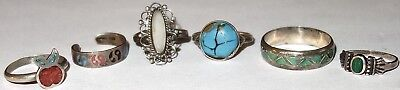 FABULOUS LOT of (6) ASSORTED Antique/Vintage STERLING SILVER RINGS w/STONES! NR!
