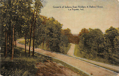 LaFayette Indiana 1912 Postcard Grounds of Indiana State Soldiers & Sailors Home