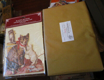 1 Package Of Unused Unopened Shackman Victorian Cat Kitten 3D Greeting Cards 1Dz