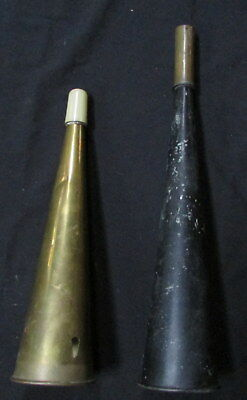 Antique Perko Tin blow style Nautical Fog Horn & another modern brass one