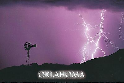 Oklahoma weather Lightning with Windmill at night purple sky 4x6 Postcard