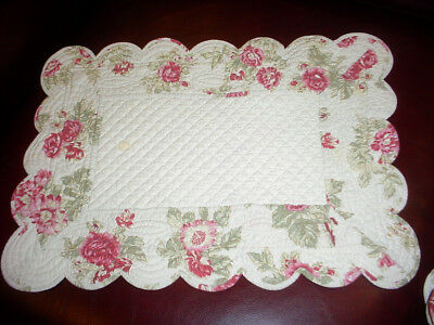 "SIX (6) BOUTIS PIQUE French Quilted Cotton PLACEMATS ""Autum Rose"""