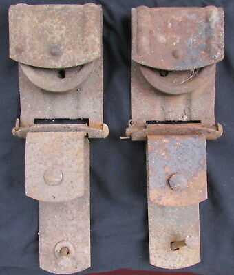 ORIGINAL EARLY 1900's CAST IRON BARN DOOR SLIDING HANGERS FOR SLIDING DOORS
