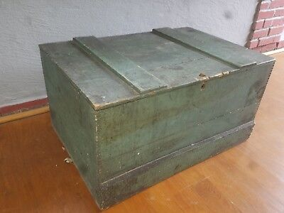 Antique Primitive Wood Tool Box Wooden Chest Trunk ~ Rustic Shabby Cottage