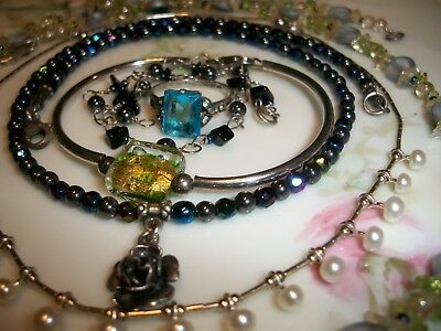 Sterling Silver | Mixed Jewelry Lot [ 6 ] Mostly Wearable Pearls | Art Glass *
