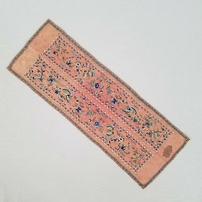 Antique Chinese Embroidery Panel on Silk Butterflies & Flowers 23.5 x 8.5 Inches